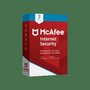 McAfee Antivirus 3 User 1 Year Subscription
